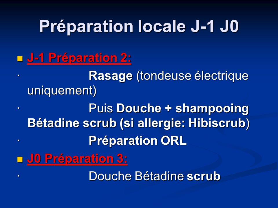 Préparation locale J-1 J0 J-1 Préparation 2: J-1 Préparation 2: · Rasage (tondeuse électrique uniquement) · Puis Douche + shampooing Bétadine scrub (si allergie: Hibiscrub) · Préparation ORL · Préparation ORL J0 Préparation 3: J0 Préparation 3: · Douche Bétadine scrub