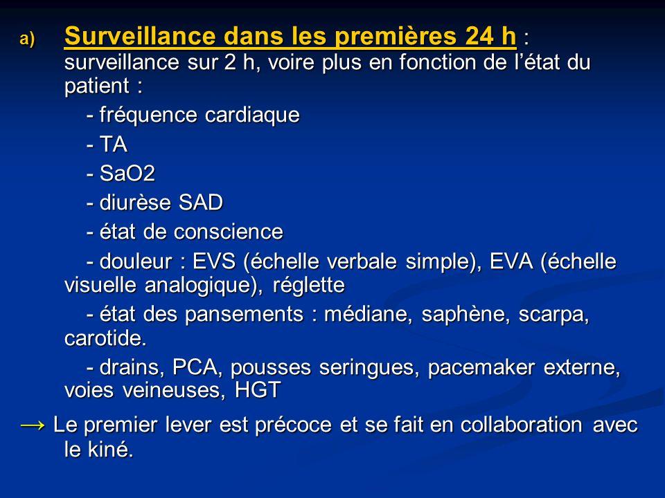 a) Surveillance dans les premières 24 h : surveillance sur 2 h, voire plus en fonction de létat du patient : - fréquence cardiaque - TA - SaO2 - diurèse SAD - état de conscience - douleur : EVS (échelle verbale simple), EVA (échelle visuelle analogique), réglette - état des pansements : médiane, saphène, scarpa, carotide.