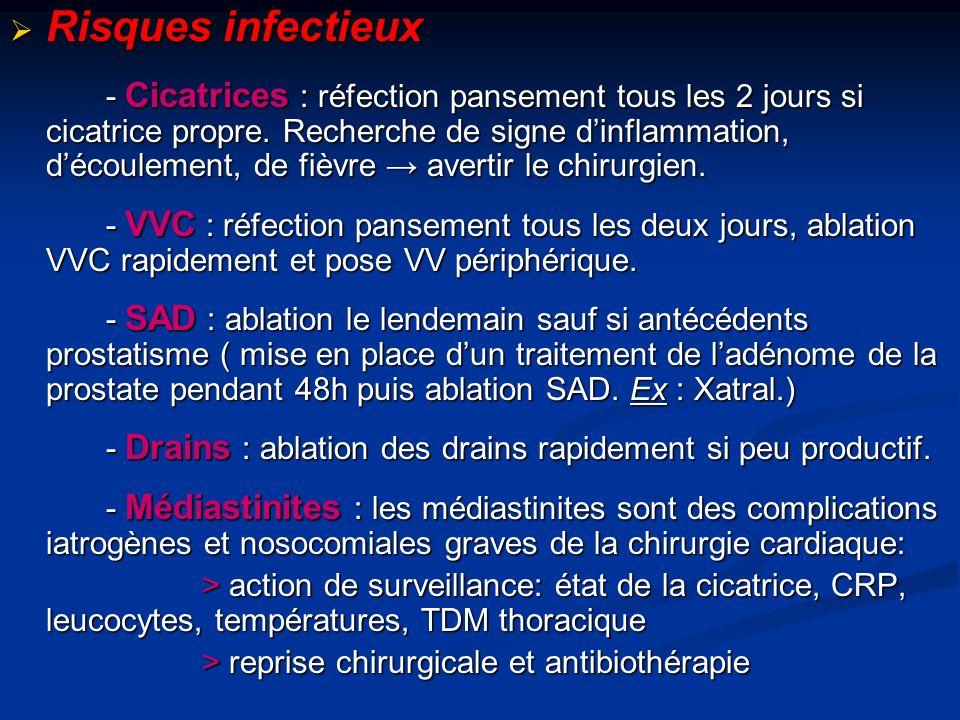 Risques infectieux Risques infectieux - Cicatrices : réfection pansement tous les 2 jours si cicatrice propre.
