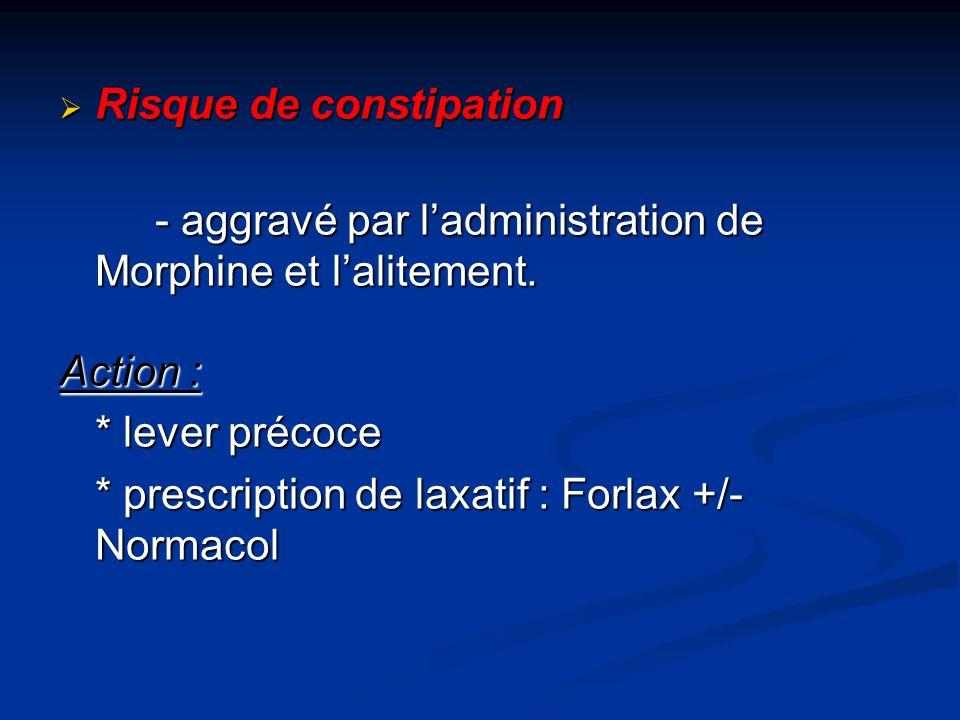 Risque de constipation Risque de constipation - aggravé par ladministration de Morphine et lalitement.