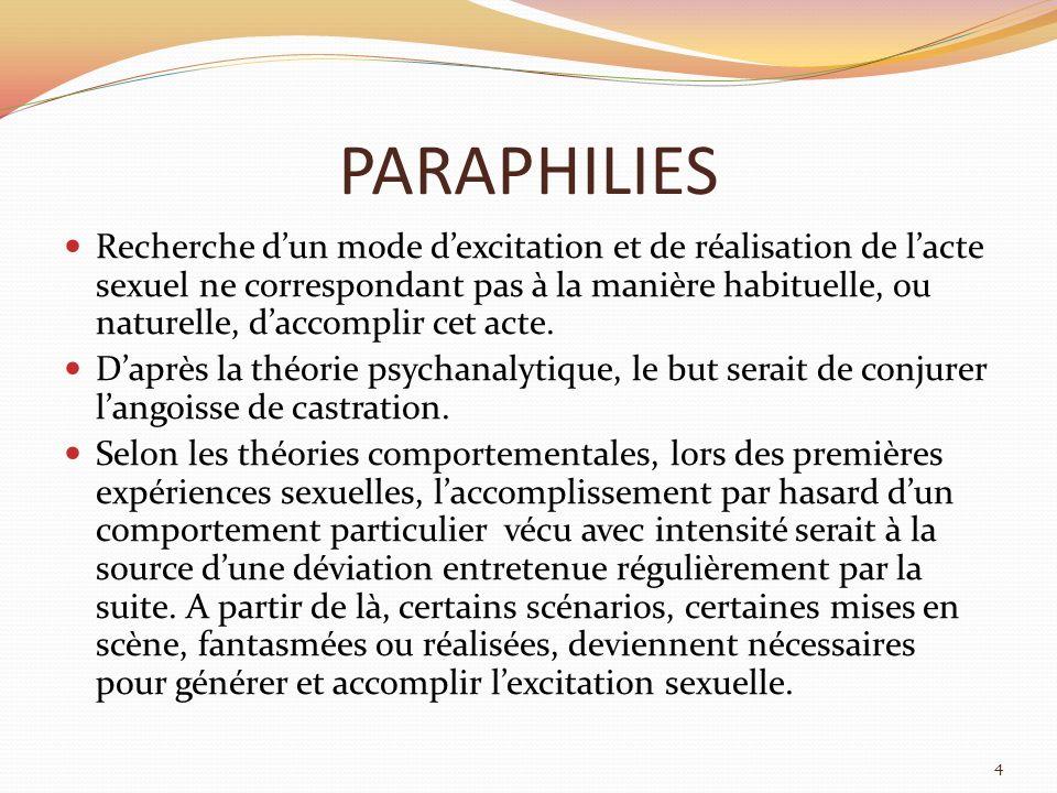 PARAPHILIES (2) Les comportements déviants sont plus ou moins bien supportés par le sujet, son entourage, la société en fonction de leur intensité et de leur caractère dangereux.