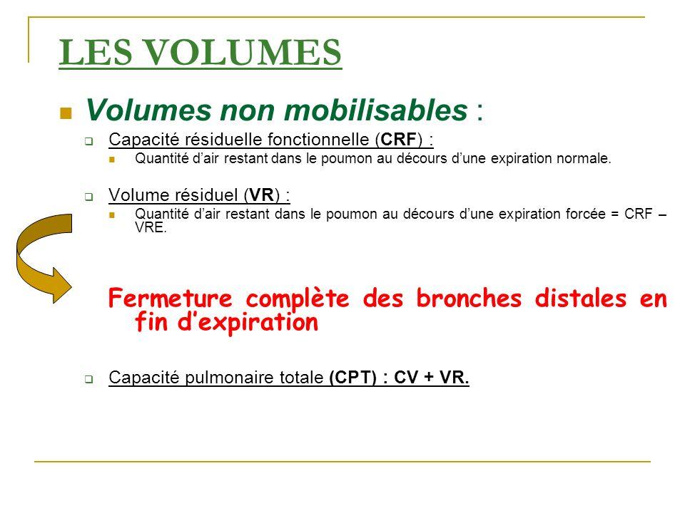 LES VOLUMES Volumes non mobilisables : Capacité résiduelle fonctionnelle (CRF) : Quantité dair restant dans le poumon au décours dune expiration norma