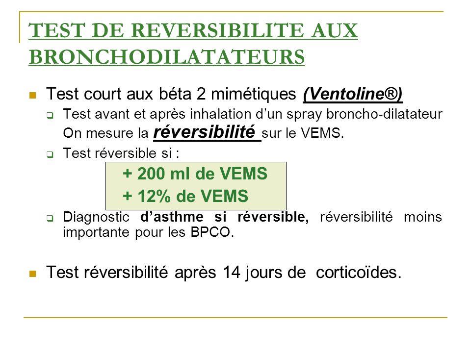 TEST DE REVERSIBILITE AUX BRONCHODILATATEURS Test court aux béta 2 mimétiques (Ventoline®) Test avant et après inhalation dun spray broncho-dilatateur