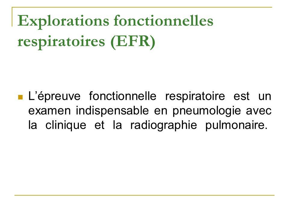 Explorations fonctionnelles respiratoires (EFR) Lépreuve fonctionnelle respiratoire est un examen indispensable en pneumologie avec la clinique et la