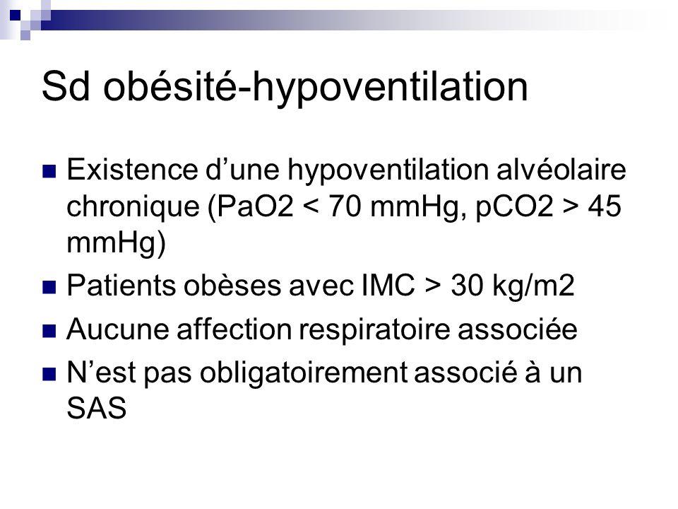 Sd obésité-hypoventilation Existence dune hypoventilation alvéolaire chronique (PaO2 45 mmHg) Patients obèses avec IMC > 30 kg/m2 Aucune affection res