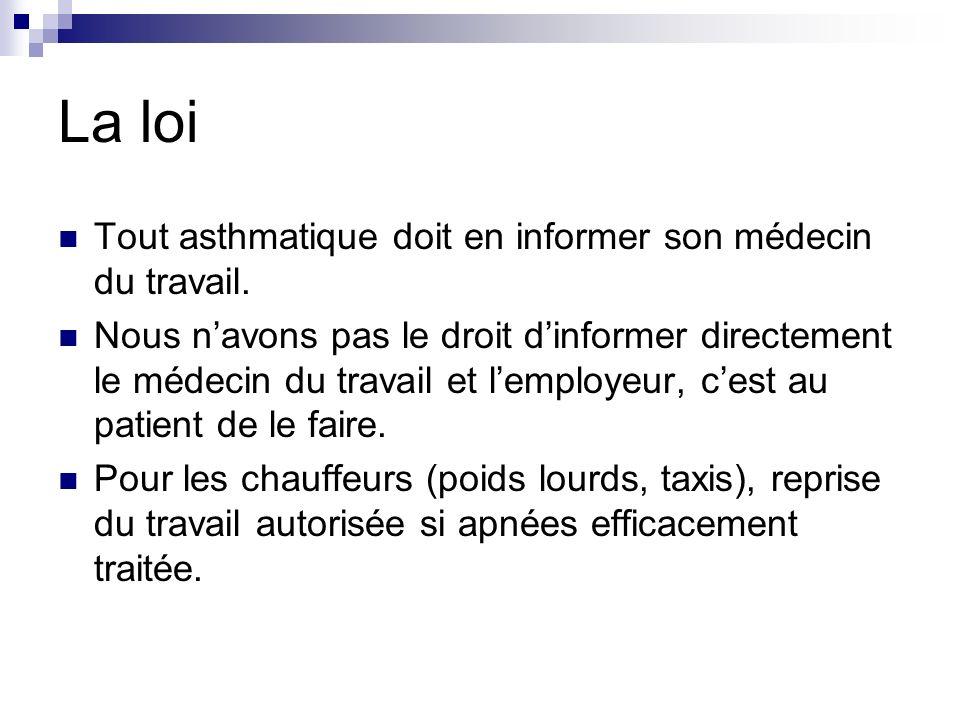 La loi Tout asthmatique doit en informer son médecin du travail. Nous navons pas le droit dinformer directement le médecin du travail et lemployeur, c