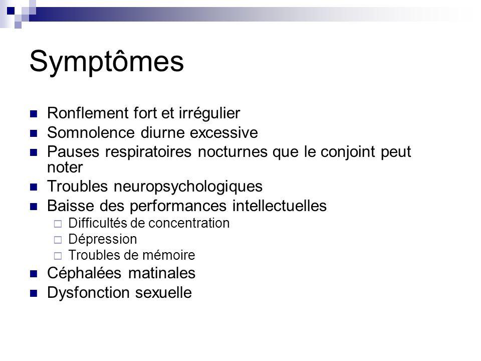 Symptômes Ronflement fort et irrégulier Somnolence diurne excessive Pauses respiratoires nocturnes que le conjoint peut noter Troubles neuropsychologi