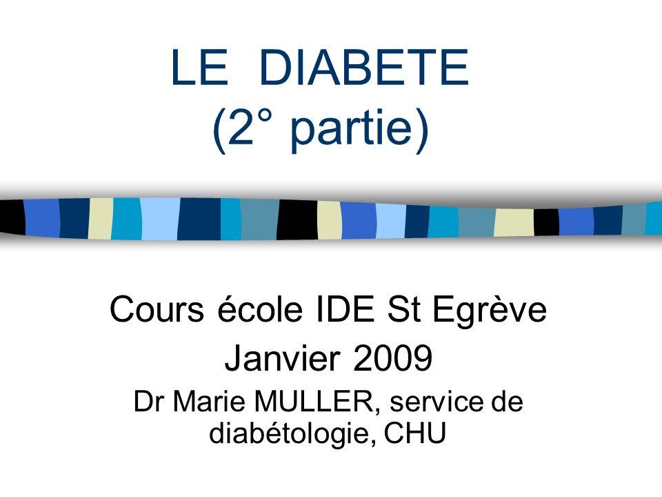 LE DIABETE (2° partie) Cours école IDE St Egrève Janvier 2009 Dr Marie MULLER, service de diabétologie, CHU