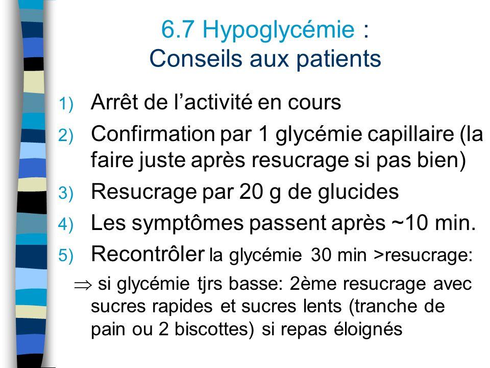 6.7 Hypoglycémie : Conseils aux patients 1) Arrêt de lactivité en cours 2) Confirmation par 1 glycémie capillaire (la faire juste après resucrage si p