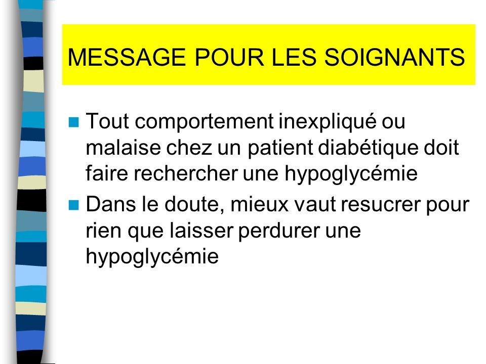 MESSAGE POUR LES SOIGNANTS Tout comportement inexpliqué ou malaise chez un patient diabétique doit faire rechercher une hypoglycémie Dans le doute, mi