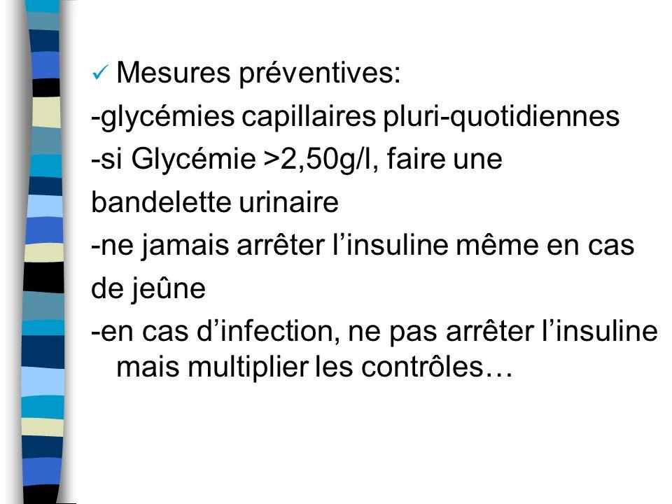 Mesures préventives: -glycémies capillaires pluri-quotidiennes -si Glycémie >2,50g/l, faire une bandelette urinaire -ne jamais arrêter linsuline même