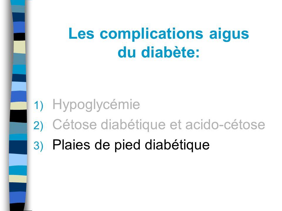 Les complications aigus du diabète: 1) Hypoglycémie 2) Cétose diabétique et acido-cétose 3) Plaies de pied diabétique