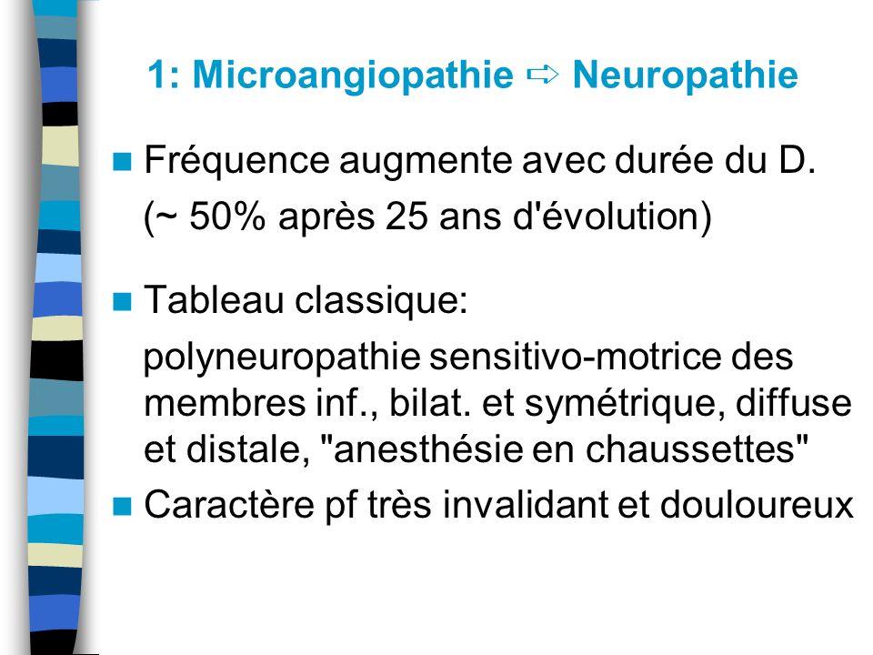 1: Microangiopathie Neuropathie Fréquence augmente avec durée du D. (~ 50% après 25 ans d'évolution) Tableau classique: polyneuropathie sensitivo-motr