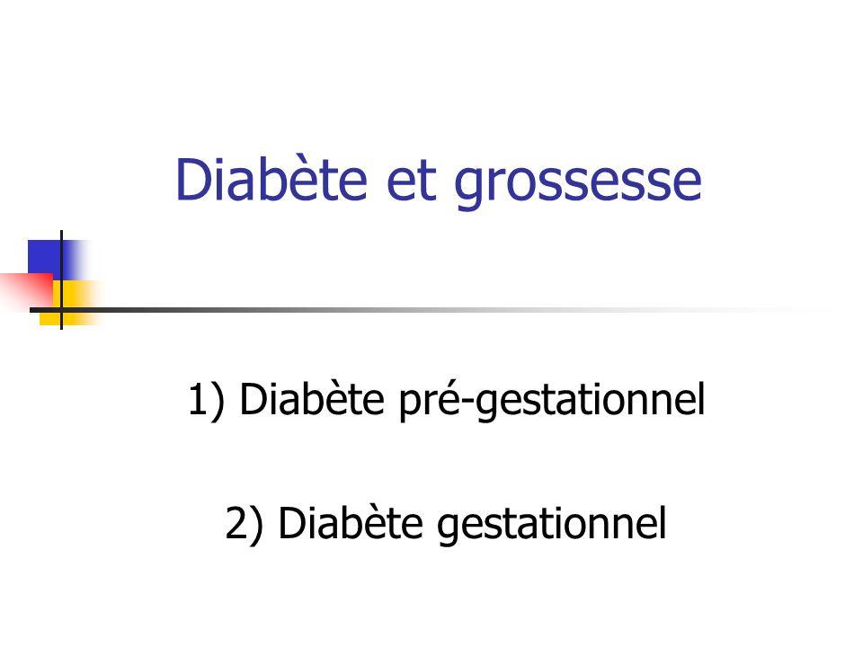 Diabète et grossesse 1) Diabète pré-gestationnel 2) Diabète gestationnel