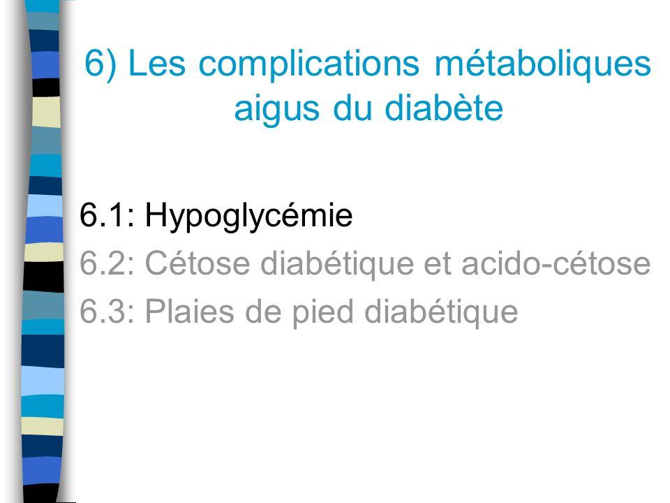 1) Hypoglycémie 2) Cétose diabétique et acido-cétose 3) Plaies de pied diabétique Les complications métaboliques aigus du diabète: