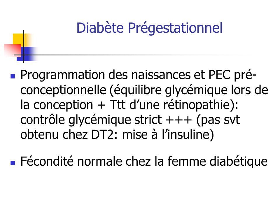 Programmation des naissances et PEC pré- conceptionnelle (équilibre glycémique lors de la conception + Ttt dune rétinopathie): contrôle glycémique str