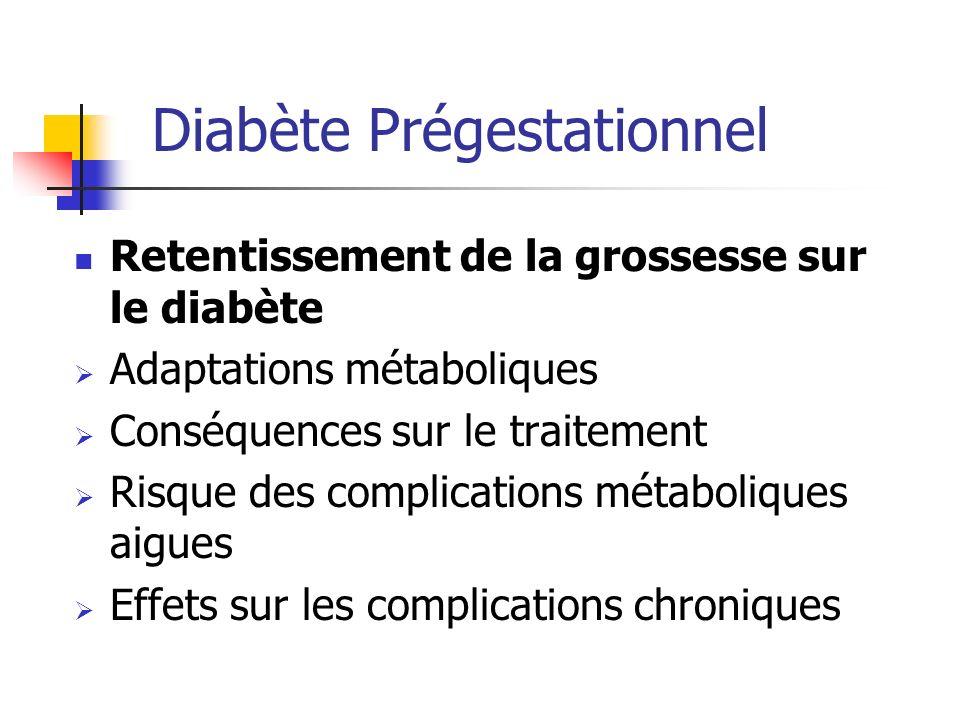 Retentissement de la grossesse sur le diabète Adaptations métaboliques Conséquences sur le traitement Risque des complications métaboliques aigues Eff