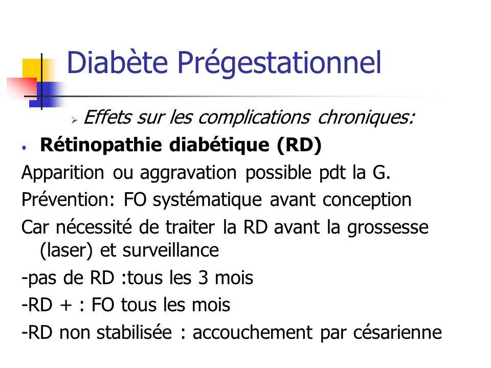Diabète Prégestationnel Effets sur les complications chroniques: Rétinopathie diabétique (RD) Apparition ou aggravation possible pdt la G. Prévention: