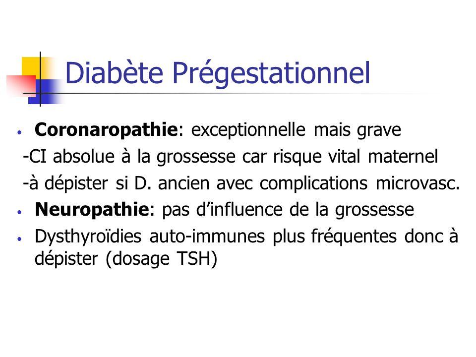 Diabète Prégestationnel Coronaropathie: exceptionnelle mais grave -CI absolue à la grossesse car risque vital maternel -à dépister si D. ancien avec c