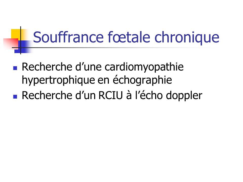 Souffrance fœtale chronique Recherche dune cardiomyopathie hypertrophique en échographie Recherche dun RCIU à lécho doppler