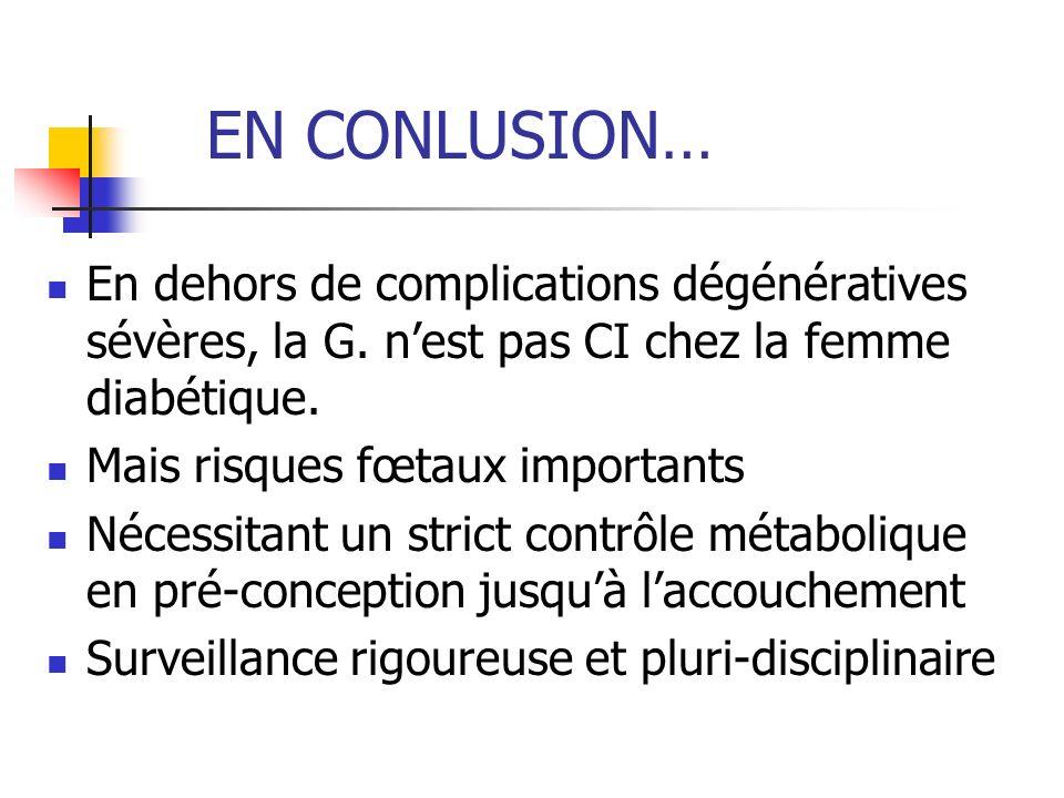 EN CONLUSION… En dehors de complications dégénératives sévères, la G. nest pas CI chez la femme diabétique. Mais risques fœtaux importants Nécessitant