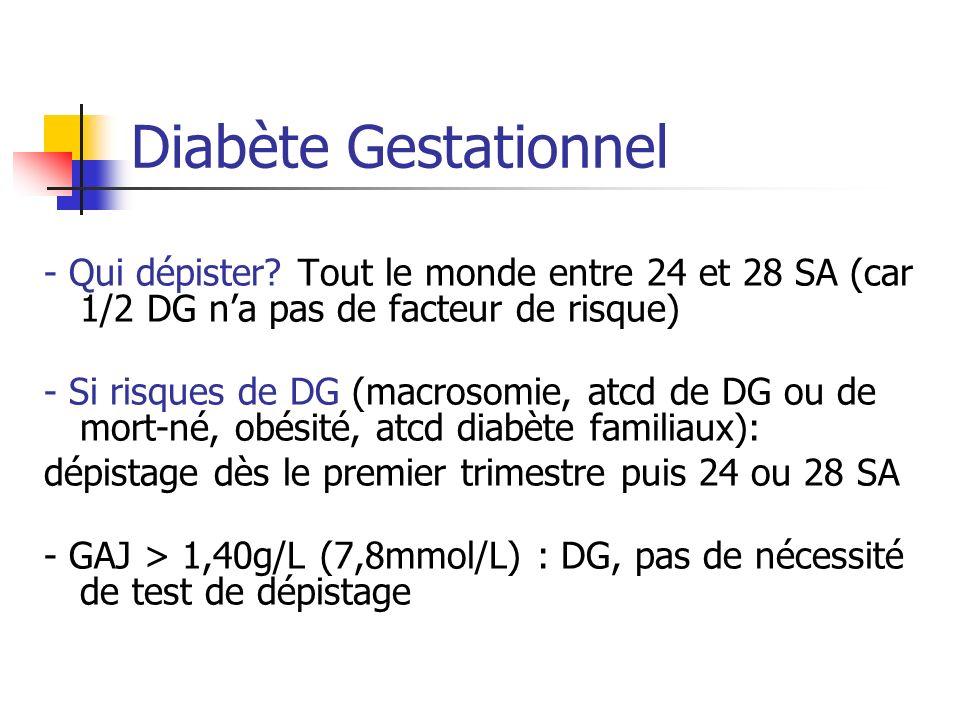 Diabète Gestationnel - Qui dépister? Tout le monde entre 24 et 28 SA (car 1/2 DG na pas de facteur de risque) - Si risques de DG (macrosomie, atcd de