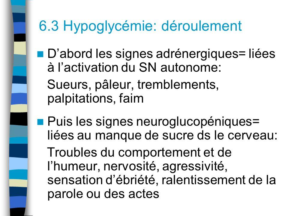6.3 Hypoglycémie: déroulement Dabord les signes adrénergiques= liées à lactivation du SN autonome: Sueurs, pâleur, tremblements, palpitations, faim Pu
