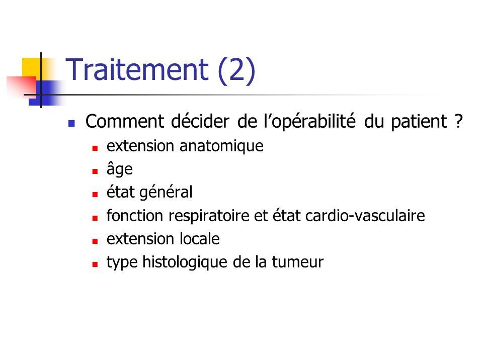 Traitement (2) Comment décider de lopérabilité du patient ? extension anatomique âge état général fonction respiratoire et état cardio-vasculaire exte