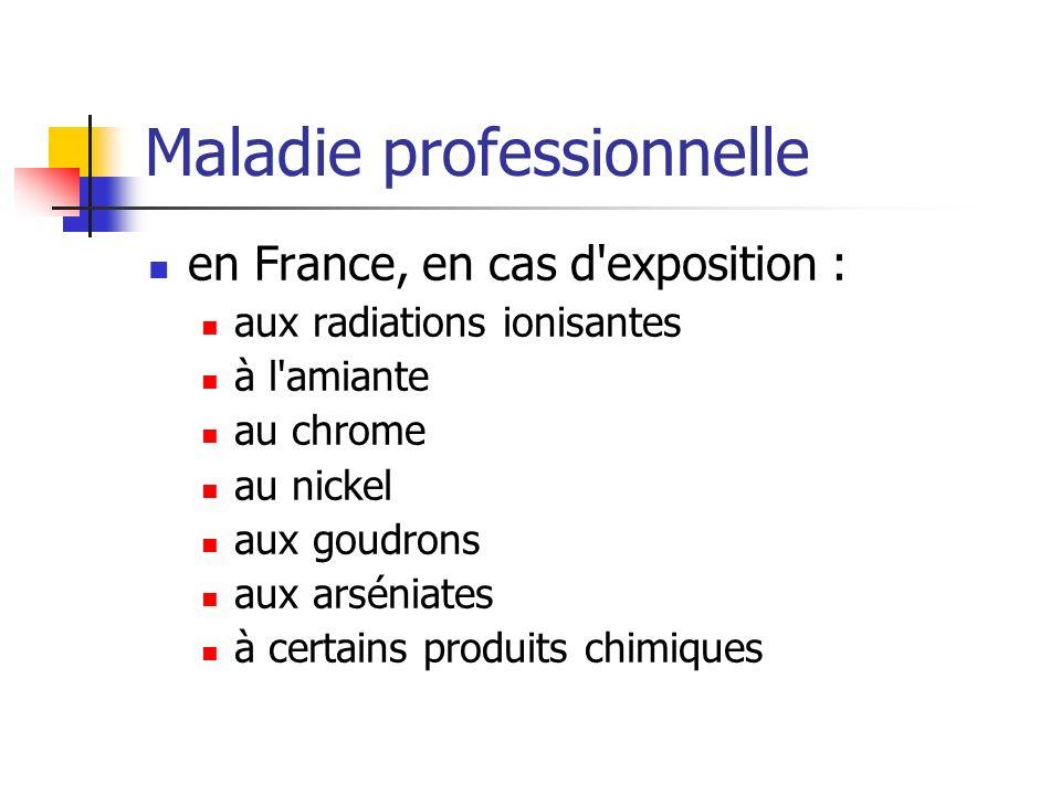 Maladie professionnelle en France, en cas d'exposition : aux radiations ionisantes à l'amiante au chrome au nickel aux goudrons aux arséniates à certa