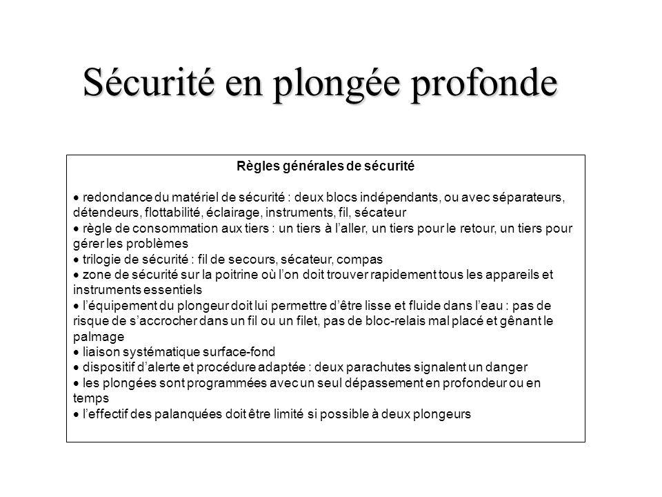 Sécurité en plongée profonde Règles générales de sécurité redondance du matériel de sécurité : deux blocs indépendants, ou avec séparateurs, détendeur