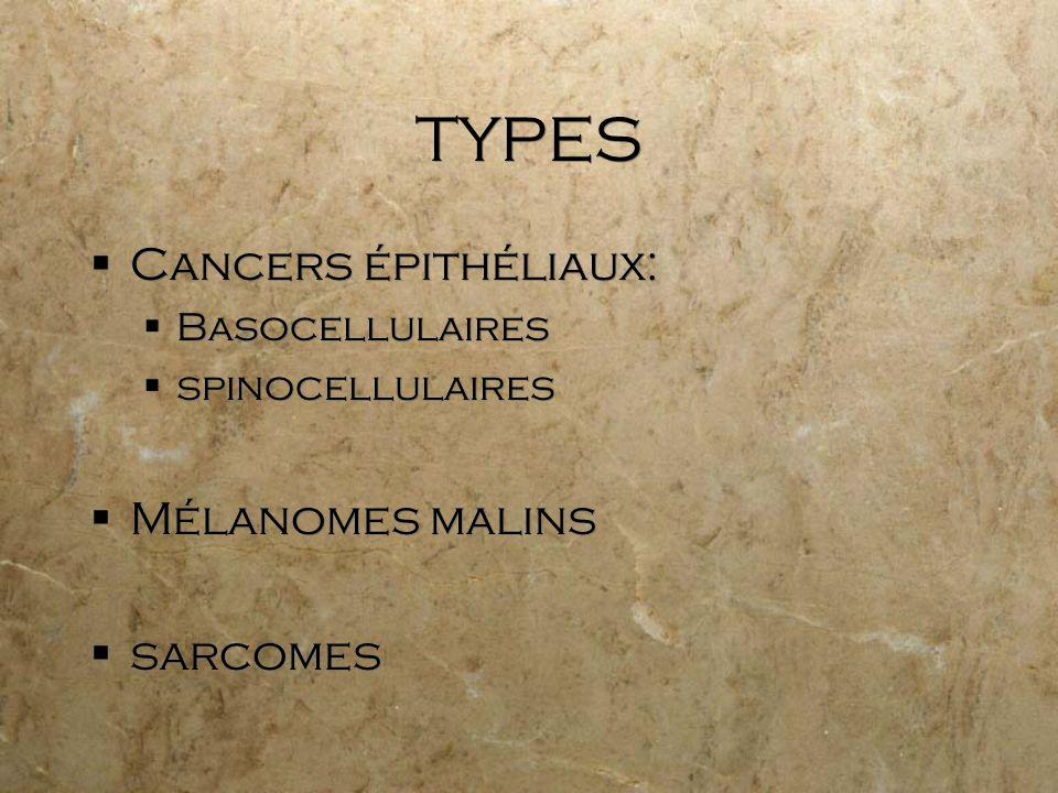 TYPES Cancers épithéliaux: Basocellulaires spinocellulaires Mélanomes malins sarcomes Cancers épithéliaux: Basocellulaires spinocellulaires Mélanomes