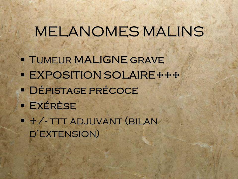 MELANOMES MALINS Tumeur MALIGNE grave EXPOSITION SOLAIRE+++ Dépistage précoce Exérèse +/- ttt adjuvant (bilan dextension) Tumeur MALIGNE grave EXPOSIT