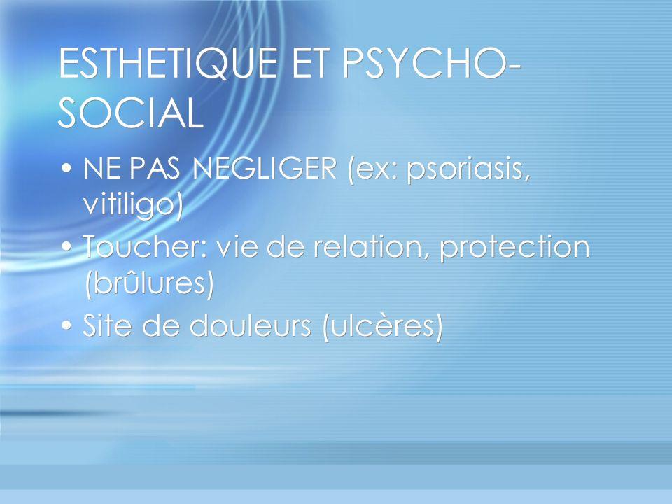 ESTHETIQUE ET PSYCHO- SOCIAL NE PAS NEGLIGER (ex: psoriasis, vitiligo) Toucher: vie de relation, protection (brûlures) Site de douleurs (ulcères) NE PAS NEGLIGER (ex: psoriasis, vitiligo) Toucher: vie de relation, protection (brûlures) Site de douleurs (ulcères)