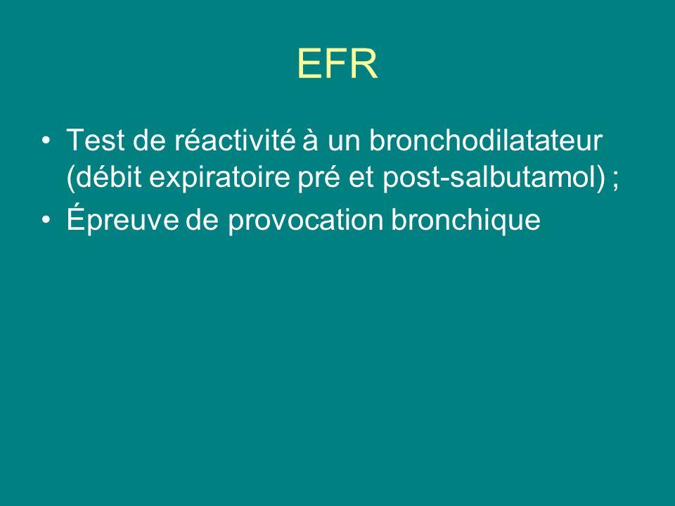EFR Test de réactivité à un bronchodilatateur (débit expiratoire pré et post-salbutamol) ; Épreuve de provocation bronchique