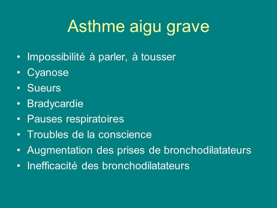 Asthme aigu grave Impossibilité à parler, à tousser Cyanose Sueurs Bradycardie Pauses respiratoires Troubles de la conscience Augmentation des prises