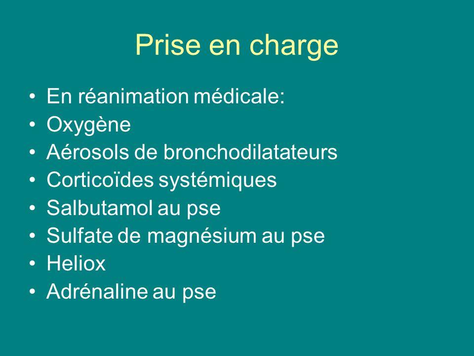 Prise en charge En réanimation médicale: Oxygène Aérosols de bronchodilatateurs Corticoïdes systémiques Salbutamol au pse Sulfate de magnésium au pse