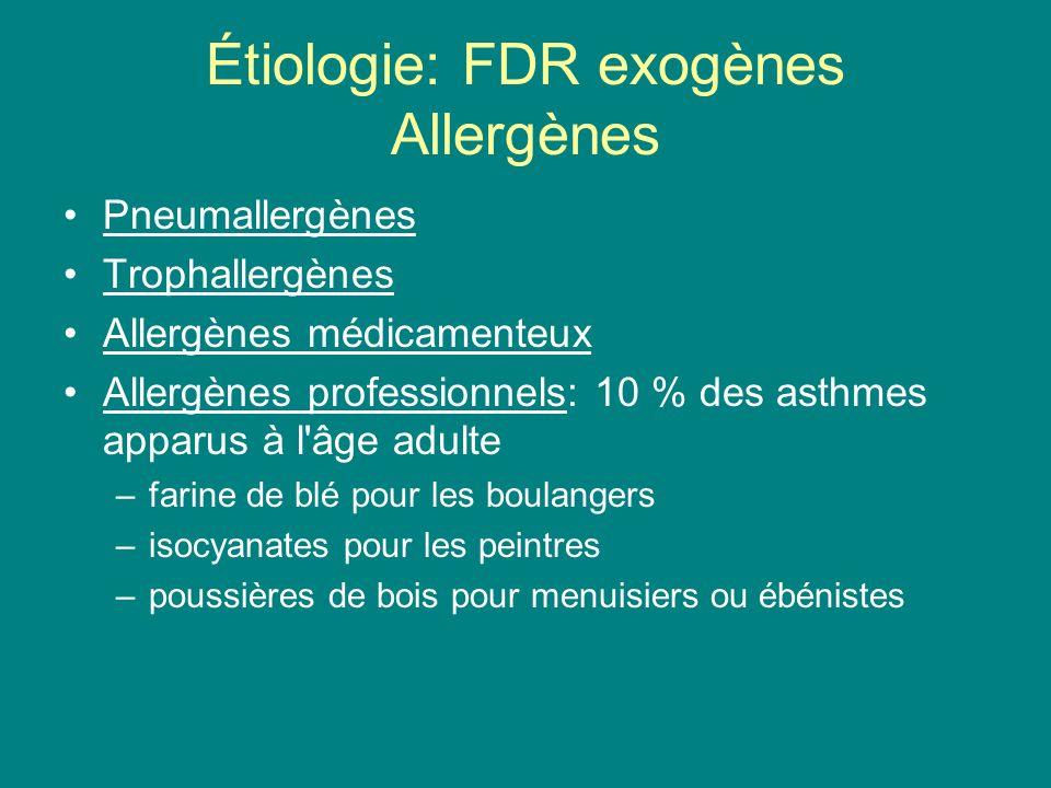 Étiologie: FDR exogènes Pollution atmosphérique –dioxyde de soufre, particules en suspension et aérosols acides (sulfates) –ozone Tabagisme: 20 % des asthmatiques Virus: 50 % des crises d asthme du jeune enfant liées à une virose respiratoire (VRS avant 2 ans) Autres: –Infections à germe banals –Intolérance à l aspirine –RGO –Asthme d effort