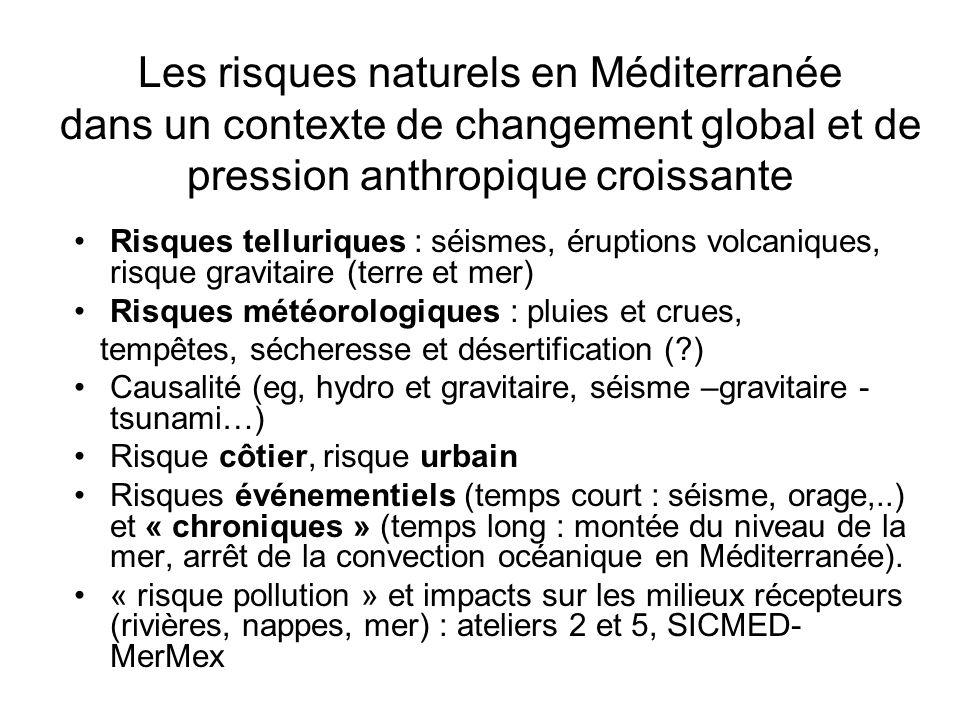Les risques naturels en Méditerranée dans un contexte de changement global et de pression anthropique croissante Risques telluriques : séismes, érupti