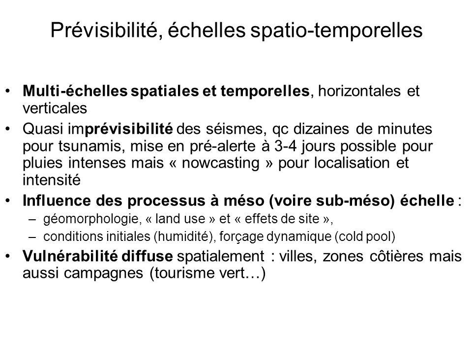 Prévisibilité, échelles spatio-temporelles Multi-échelles spatiales et temporelles, horizontales et verticales Quasi imprévisibilité des séismes, qc d