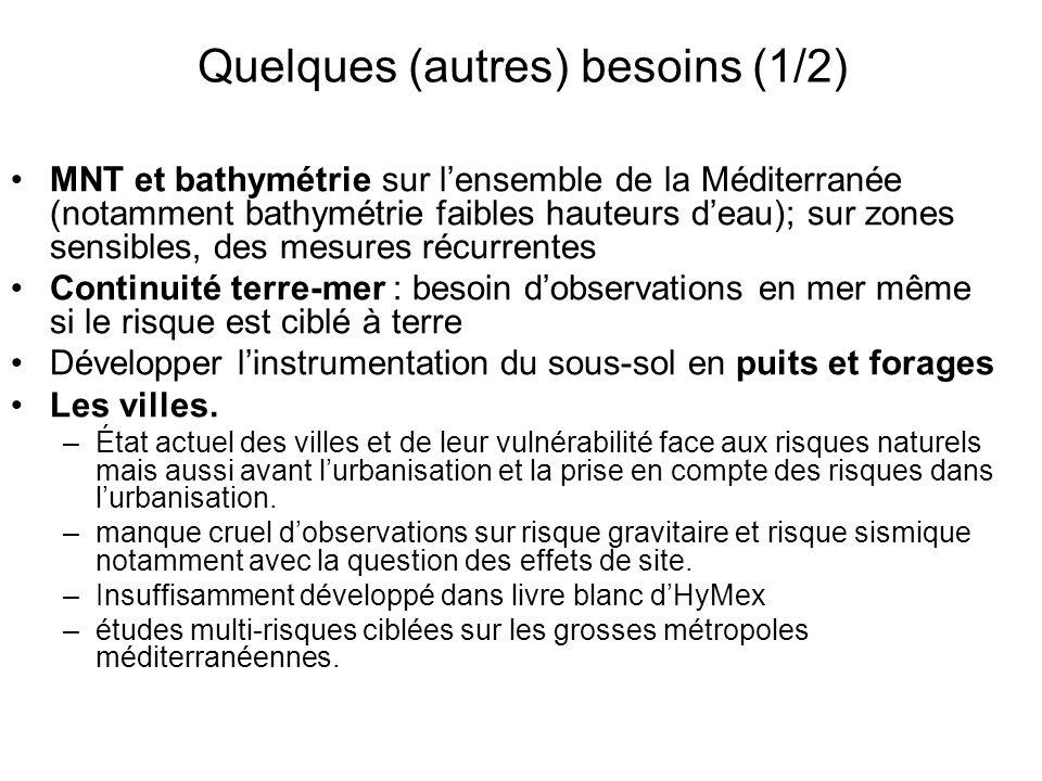 Quelques (autres) besoins (1/2) MNT et bathymétrie sur lensemble de la Méditerranée (notamment bathymétrie faibles hauteurs deau); sur zones sensibles