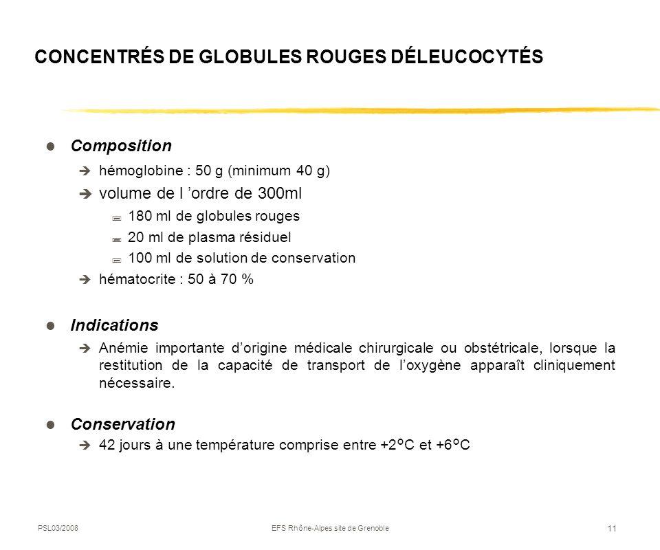 PSL03/2008EFS Rhône-Alpes site de Grenoble 11 CONCENTRÉS DE GLOBULES ROUGES DÉLEUCOCYTÉS Composition hémoglobine : 50 g (minimum 40 g) volume de l ord
