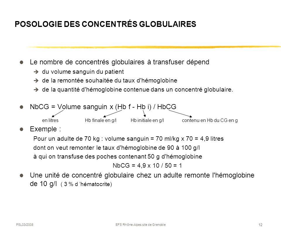 PSL03/2008EFS Rhône-Alpes site de Grenoble 12 POSOLOGIE DES CONCENTRÉS GLOBULAIRES Le nombre de concentrés globulaires à transfuser dépend du volume s