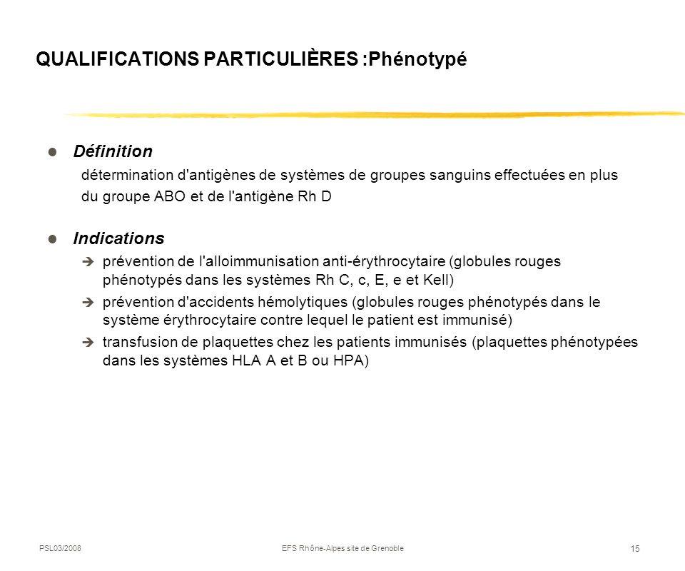 PSL03/2008EFS Rhône-Alpes site de Grenoble 15 QUALIFICATIONS PARTICULIÈRES :Phénotypé Définition détermination d'antigènes de systèmes de groupes sang