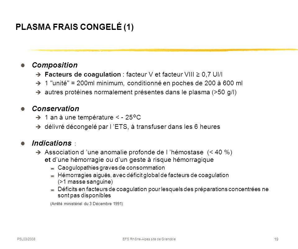PSL03/2008EFS Rhône-Alpes site de Grenoble 19 PLASMA FRAIS CONGELÉ (1) Composition Facteurs de coagulation : facteur V et facteur VIII 0,7 UI/l 1