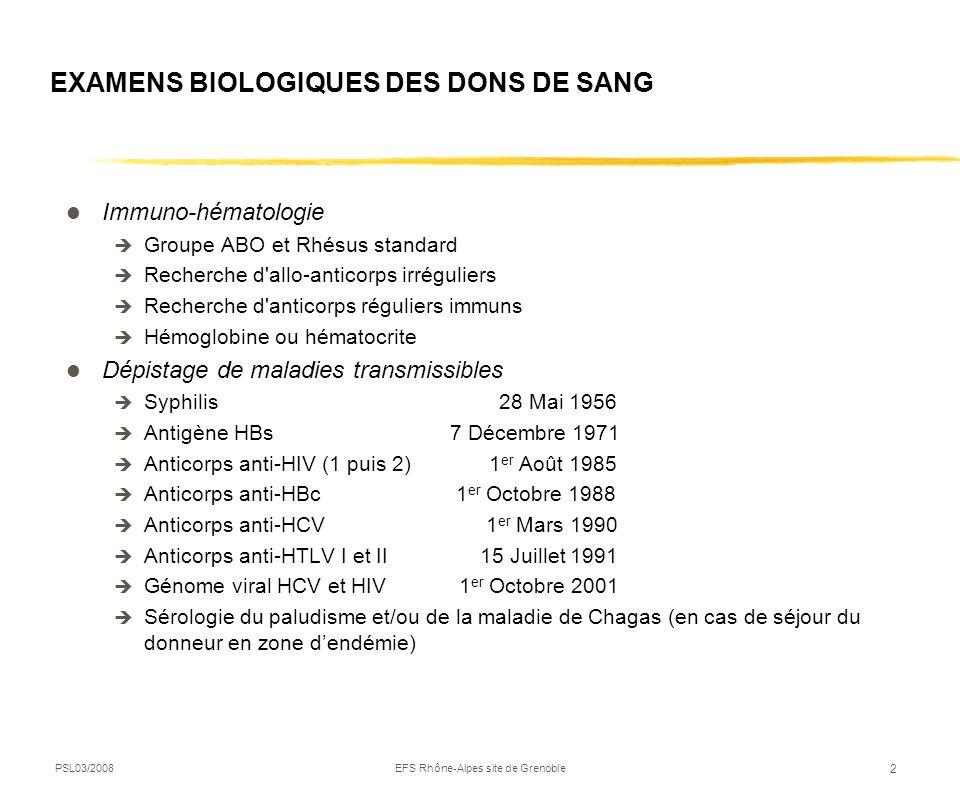 PSL03/2008EFS Rhône-Alpes site de Grenoble 2 EXAMENS BIOLOGIQUES DES DONS DE SANG Immuno-hématologie Groupe ABO et Rhésus standard Recherche d'allo-an