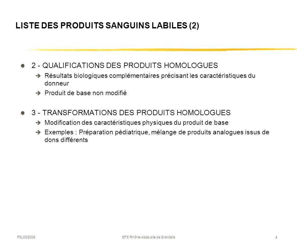 PSL03/2008EFS Rhône-Alpes site de Grenoble 4 LISTE DES PRODUITS SANGUINS LABILES (2) 2 - QUALIFICATIONS DES PRODUITS HOMOLOGUES Résultats biologiques