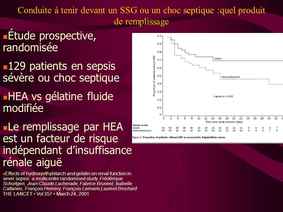 Conduite à tenir devant un SSG ou un choc septique :quel produit de remplissage Étude prospective, randomisée 129 patients en sepsis sévère ou choc se