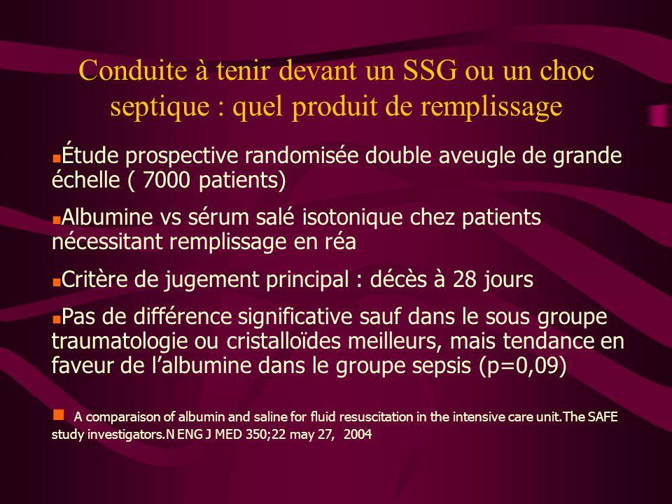 Conduite à tenir devant un SSG ou un choc septique : quel produit de remplissage Étude prospective randomisée double aveugle de grande échelle ( 7000