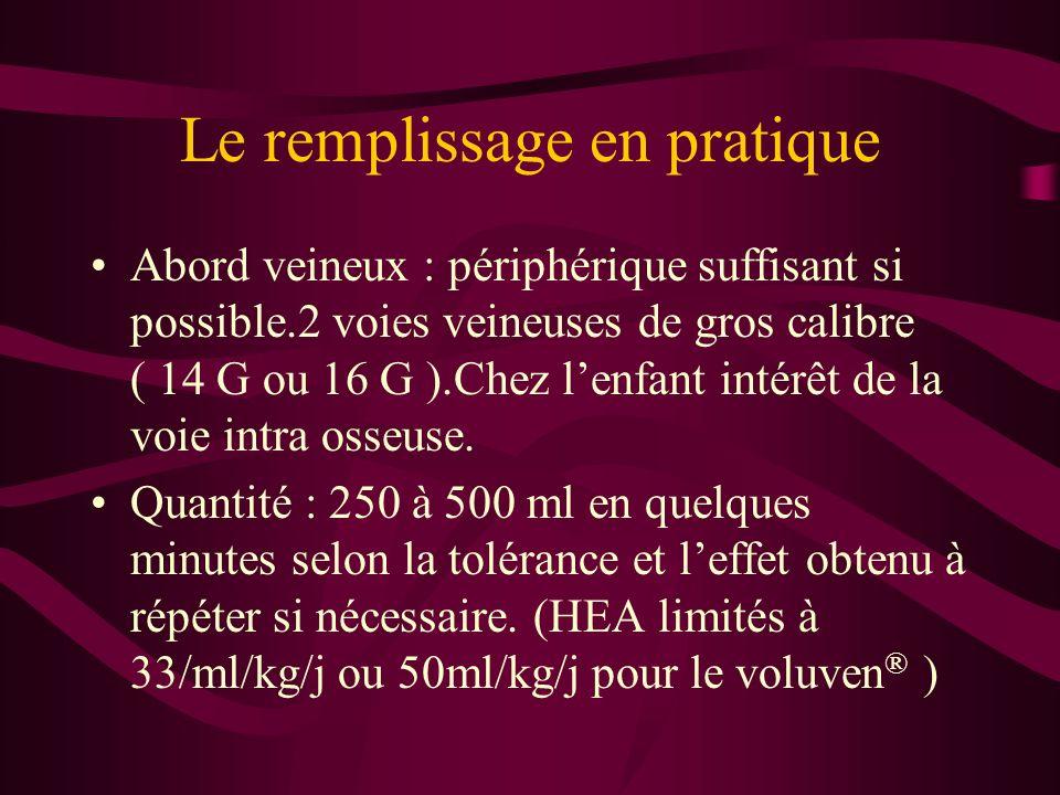 Le remplissage en pratique Abord veineux : périphérique suffisant si possible.2 voies veineuses de gros calibre ( 14 G ou 16 G ).Chez lenfant intérêt