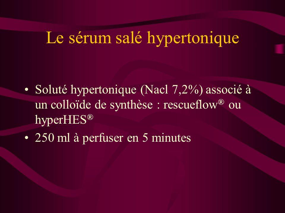 Le sérum salé hypertonique Soluté hypertonique (Nacl 7,2%) associé à un colloïde de synthèse : rescueflow ® ou hyperHES ® 250 ml à perfuser en 5 minut